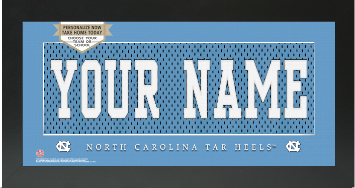 UNC Tar Heels NCAA Jersey Nameplate Custom Framed Sign