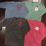Christmas Monogram or Sorority Comfort Colors Crewneck Sweatshirt - Campus Connection - Campus Connection - 1