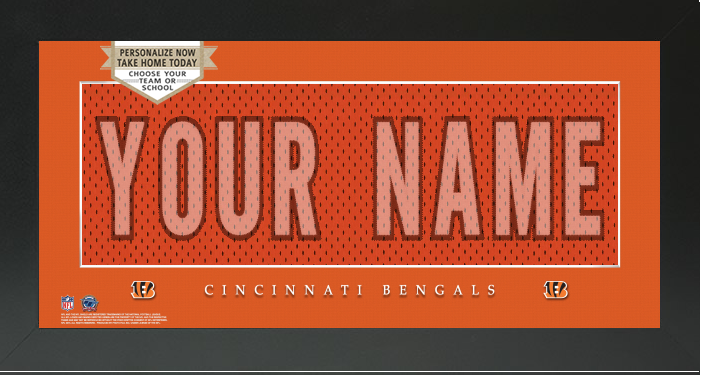... Cincinnati Bengals NFL Jersey Nameplate Custom Framed Sign – Campus  Connection ... e91f4807a