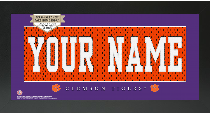 Clemson Tigers NCAA Jersey Nameplate Custom Framed Sign