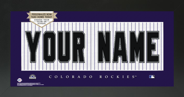 Colorado Rockies MLB Jersey Nameplate Custom Framed Sign