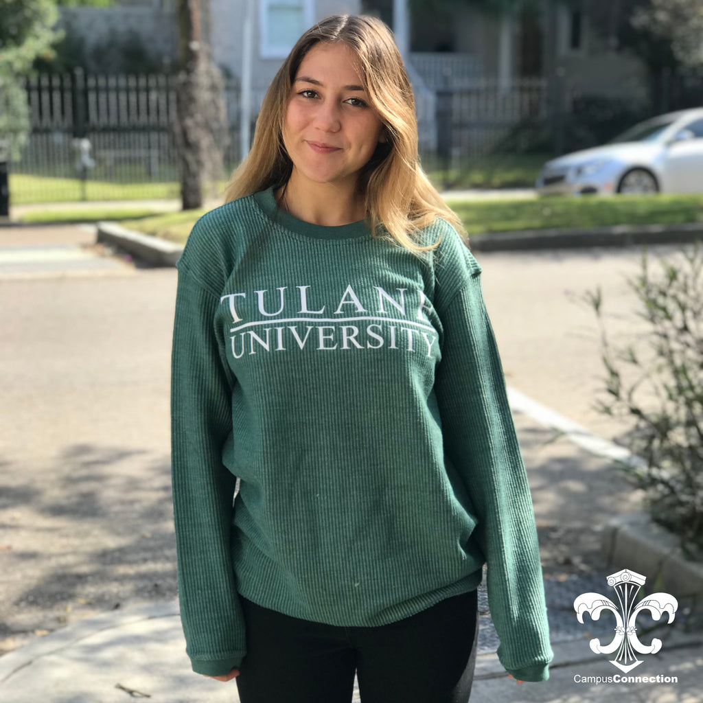 Tulane Corded Crewneck Sweatshirt with Bar Design