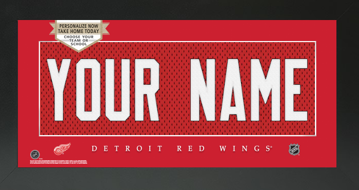 Detroit Red Wings Jersey NHL Nameplate Custom Framed Sign