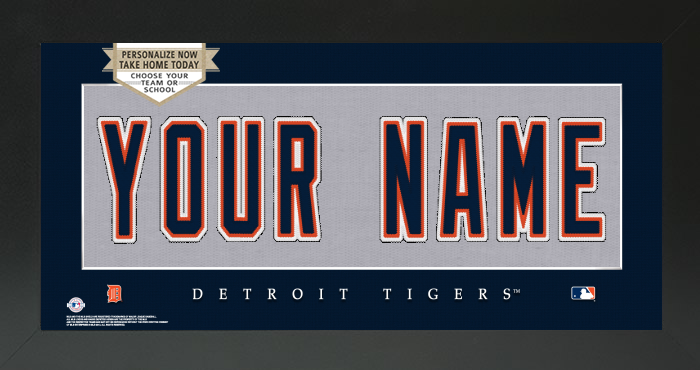 Detroit Tigers MLB Jersey Nameplate Custom Framed Sign
