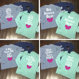 Big/Little/GBig/GGBig Family Saying Sorority Bow Comfort Colors Long Sleeve - Campus Connection - Campus Connection - 1