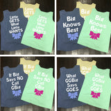 Little Gets What Little Wants, Big Knows Best Family Saying Sorority Bow Comfort Colors Tank Top - Campus Connection - Campus Connection - 2