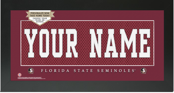 Florida State Seminoles NCAA Jersey Nameplate Custom Framed Sign