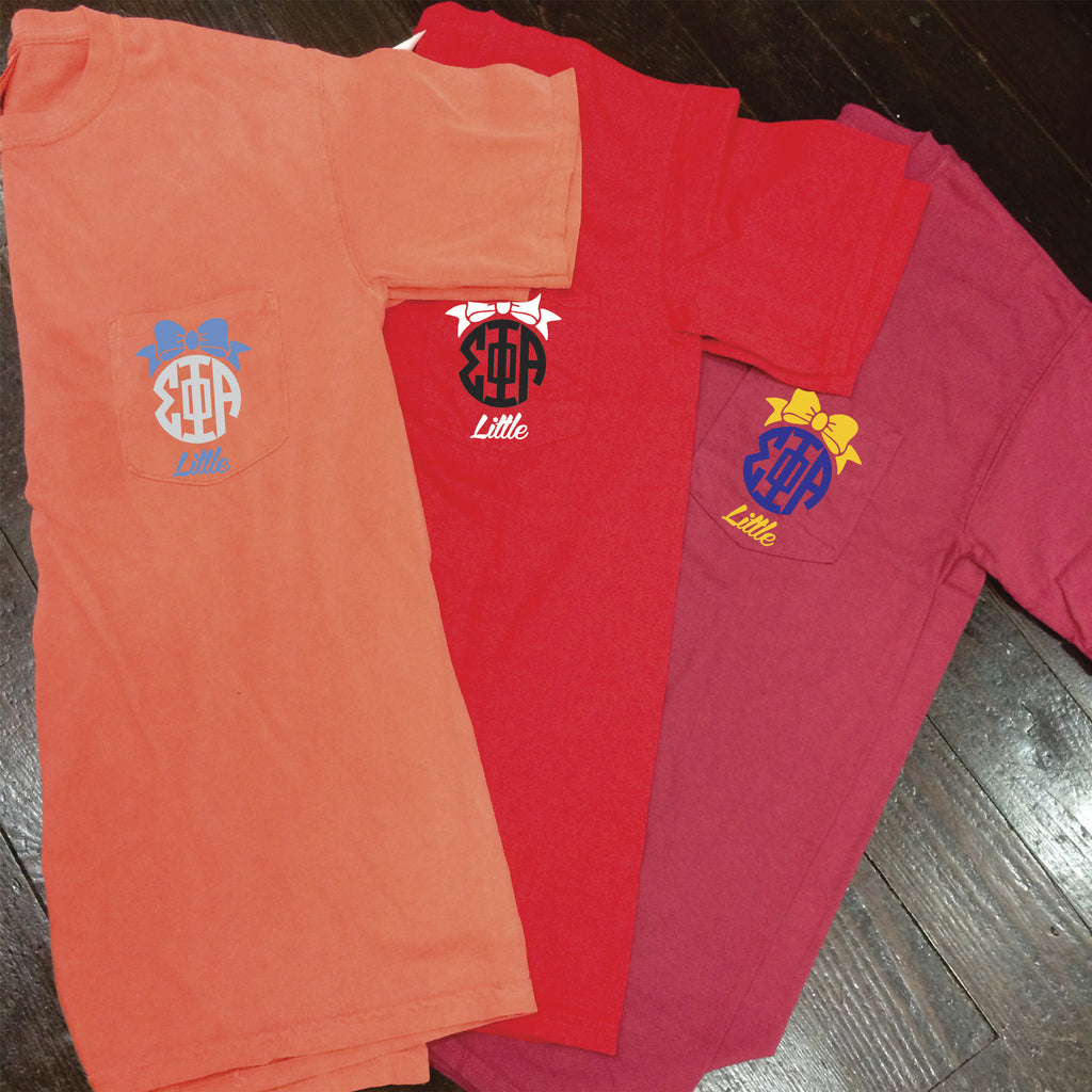Big/Little/GBig/GGBig Sorority Bow Monogram Comfort Colors Frocket - Campus Connection - Campus Connection - 1