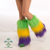 Mardi Gras Furry Leg Warmers Boot Topper