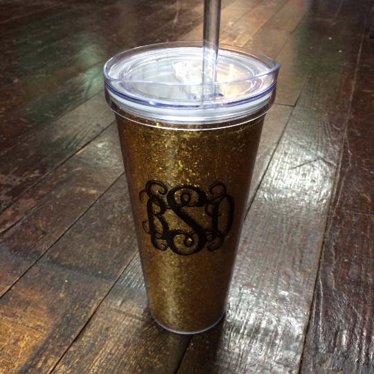 Monogrammed Glitter Tumbler - Campus Connection - Campus Connection - 1