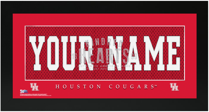 Houston Cougars NCAA Jersey Nameplate Custom Framed Sign