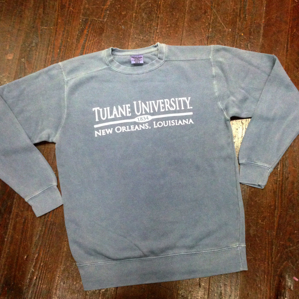 Tulane Comfort Colors Crewneck Sweatshirt - Blue Jean - Campus Connection - Campus Connection