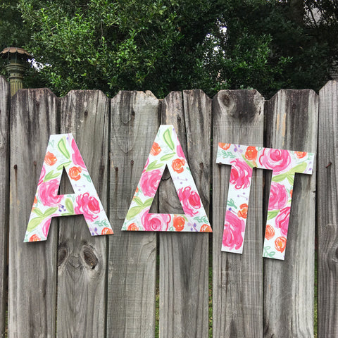 Sorority Floral Cutout Letters