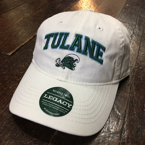 Tulane Angry Wave Hat with Name - White