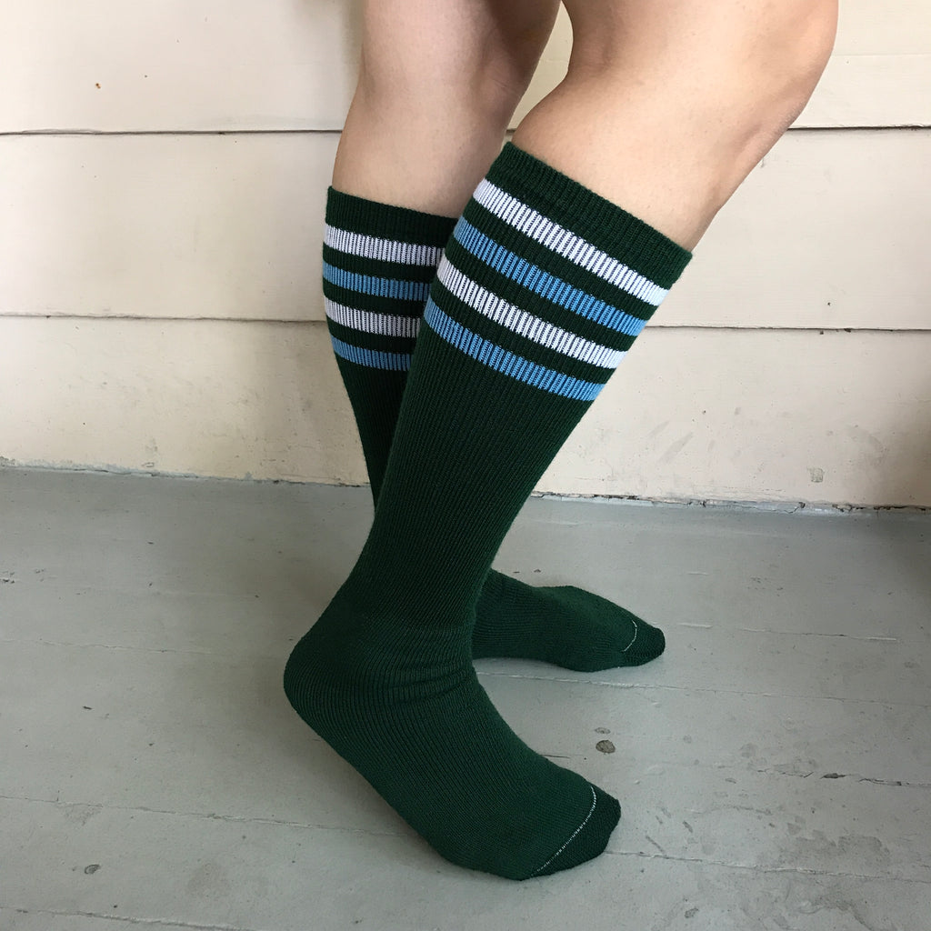 Green/Blue/White Striped Knee High Socks