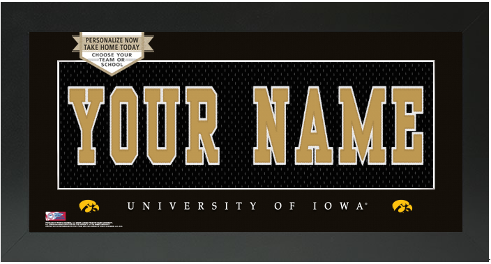 Iowa Hawkeyes NCAA Jersey Nameplate Custom Framed Sign