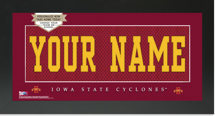 Iowa State Cyclones NCAA Jersey Nameplate Custom Framed Sign