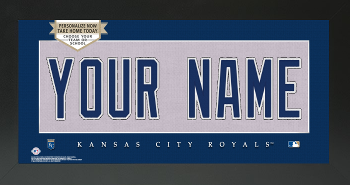 Kansas City Royals MLB Jersey Nameplate Custom Framed Sign