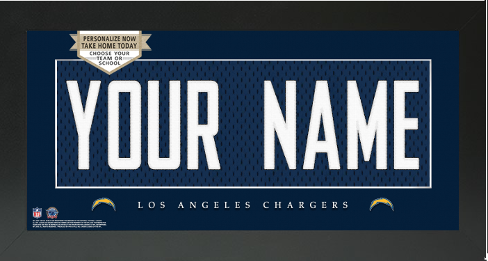 the latest 91afe 56f35 Los Angeles Chargers NFL Jersey Nameplate Custom Framed Sign