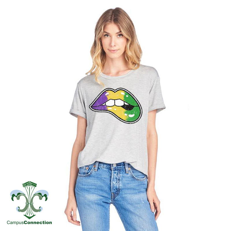 Mardi Gras Lips T-Shirt - Heather Gray