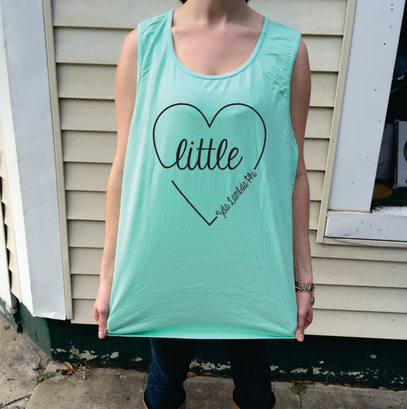 Big/Little/GBig/GGBig Sorority Script Heart Comfort Colors Tank Top - Campus Connection - Campus Connection - 1
