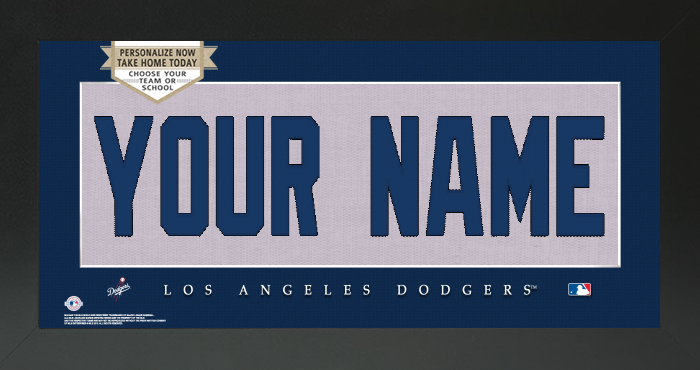 Los Angeles Dodgers MLB Jersey Nameplate Custom Framed Sign