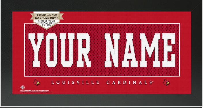 Louisville Cardinals NCAA Jersey Nameplate Custom Framed Sign