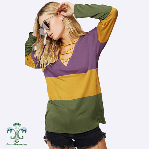 Mardi Gras Long Sleeve Color Blocked Cross Strap V-Neck