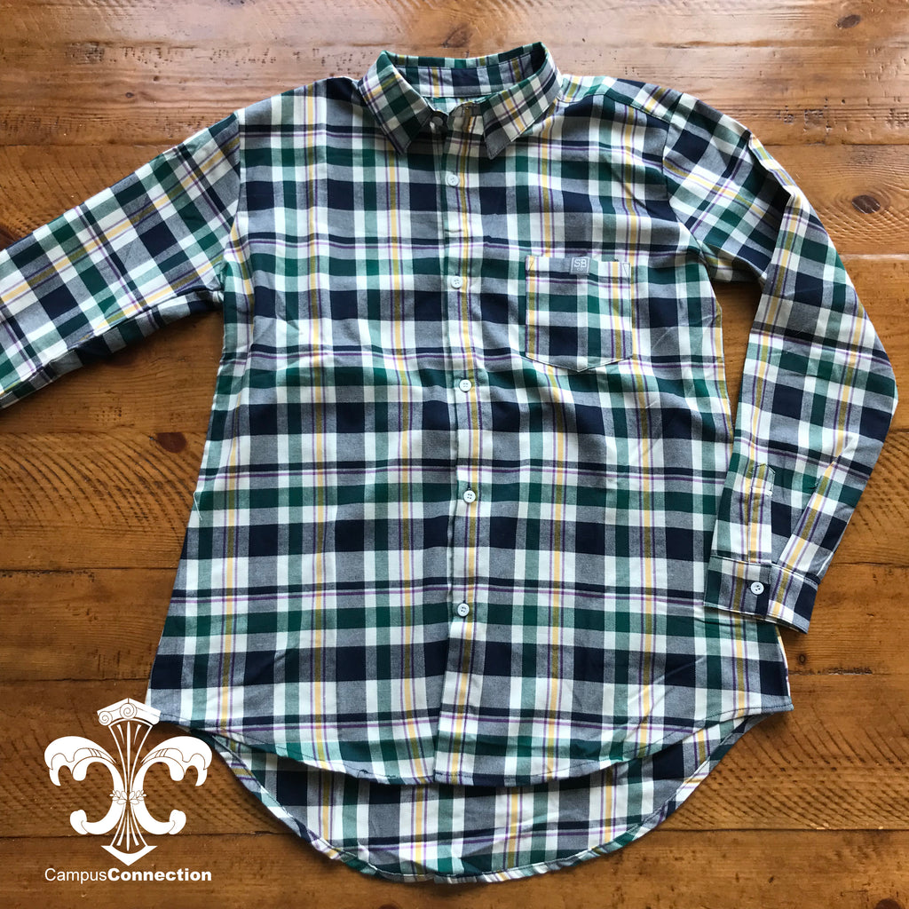 Mardi Gras Plaid Flannel Shirt