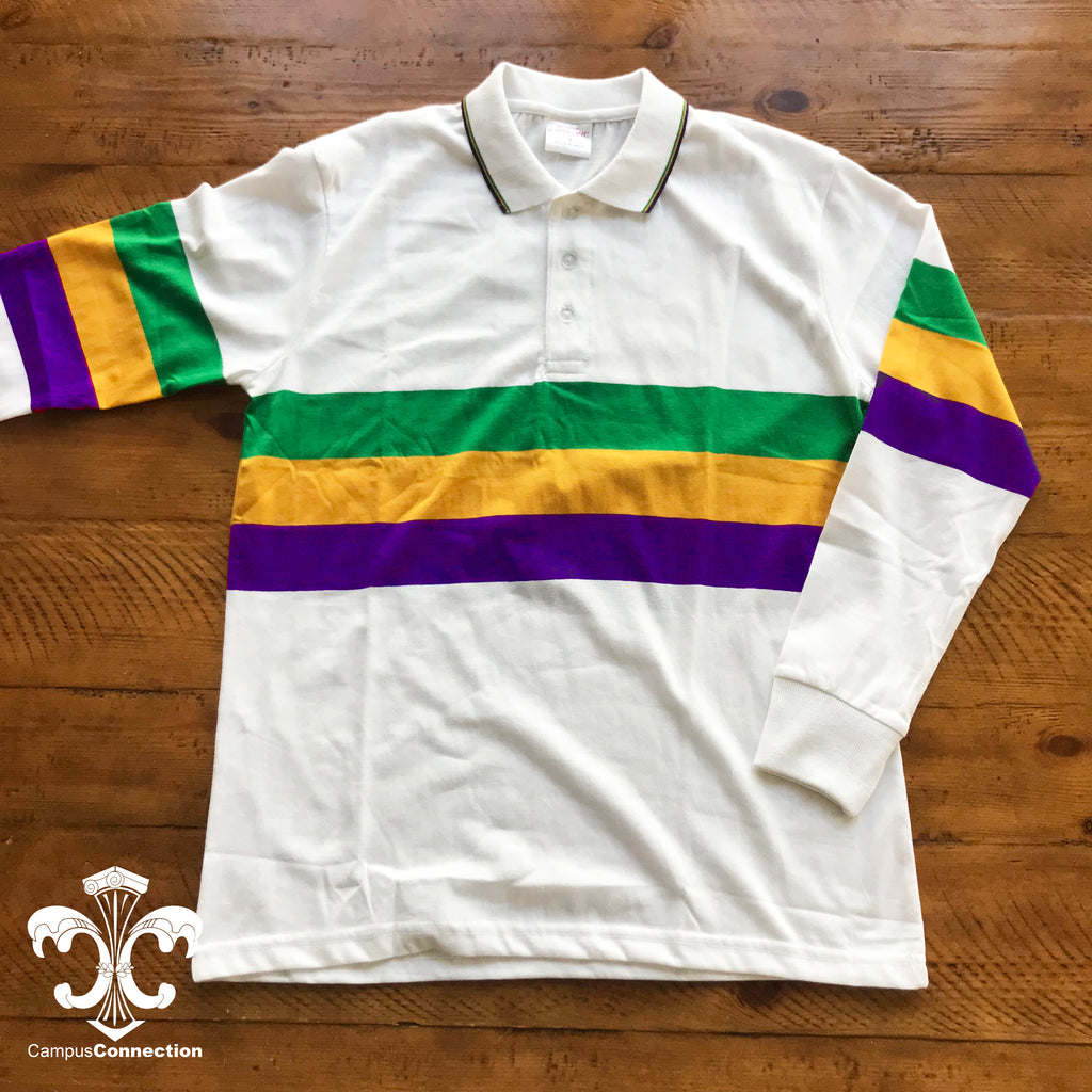 Mardi Gras Color Block Long Sleeve Polo