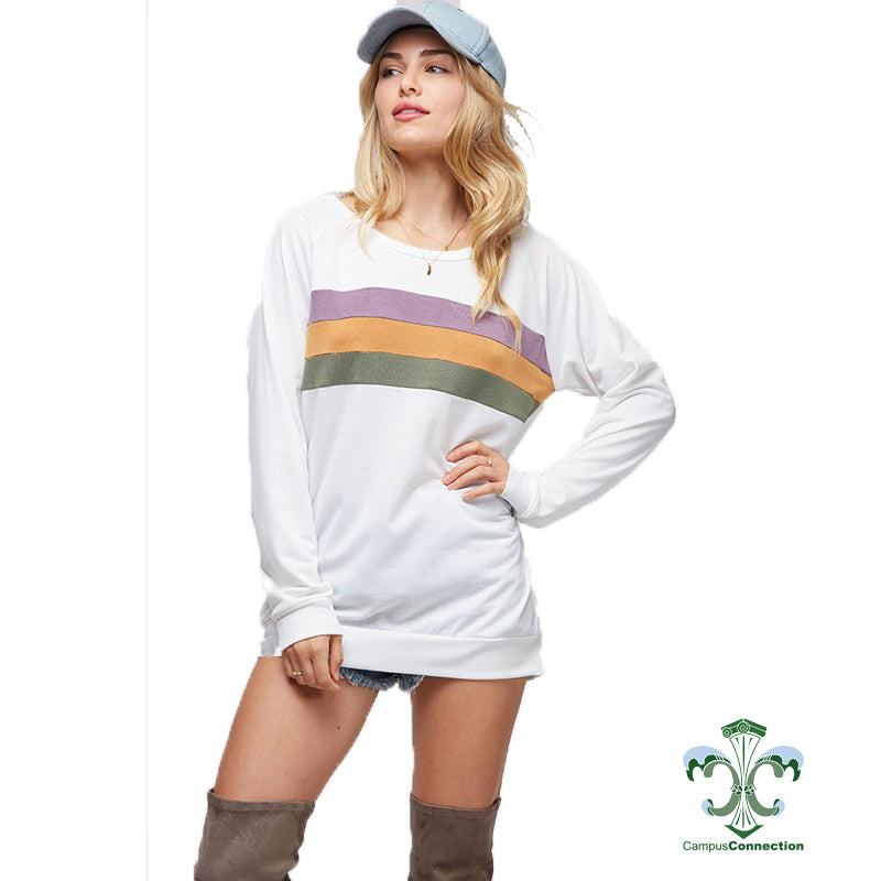 Mardi Gras Color Block Chest French Terry Sweatshirt - Off White