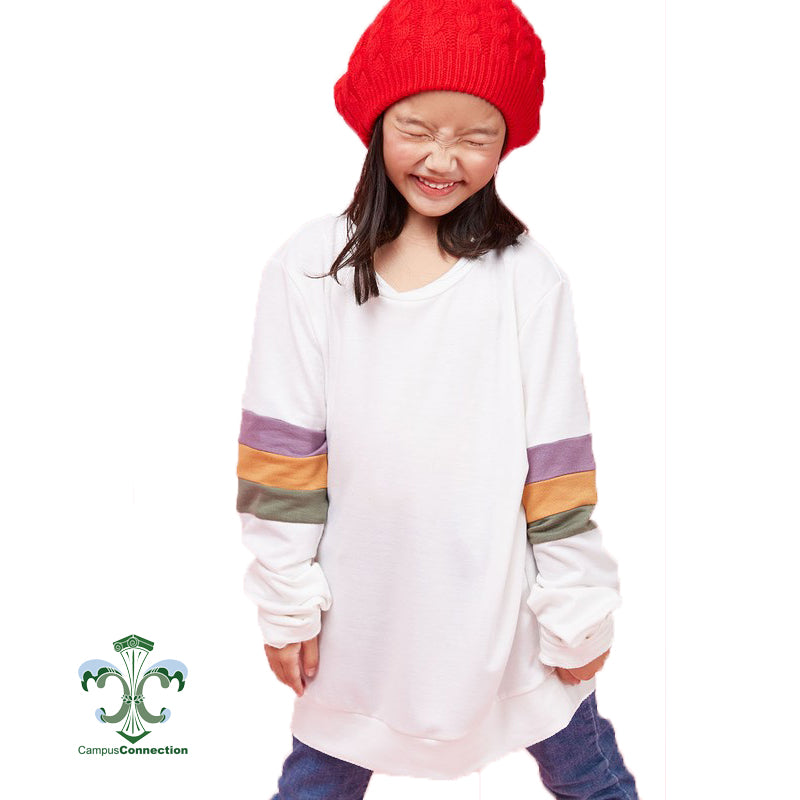Mardi Gras Color Block Sleeve French Terry Sweatshirt YOUTH - Off White