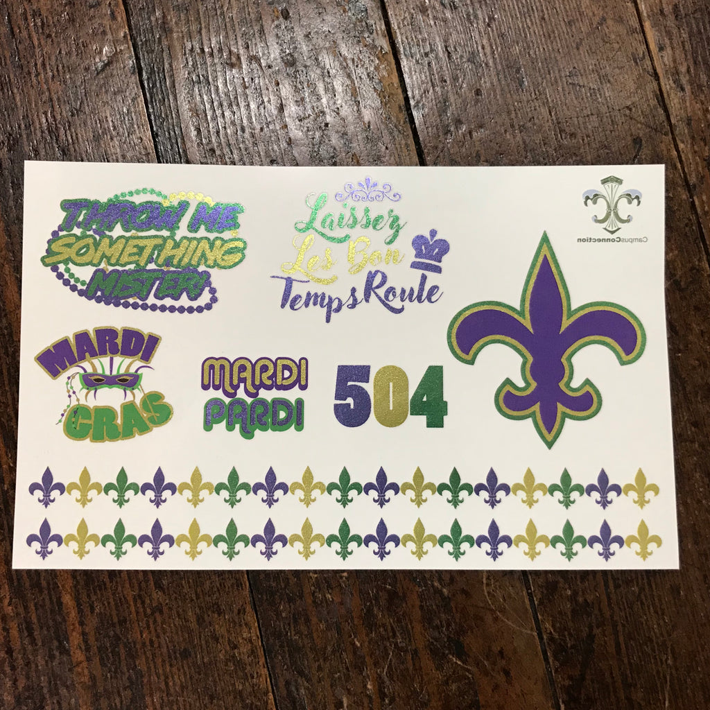 Mardi Gras Metallic Foil Flash Tattoos