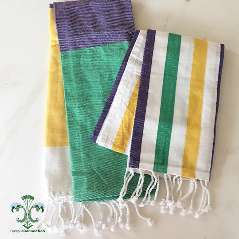 Mardi Gras Striped Hand Towel