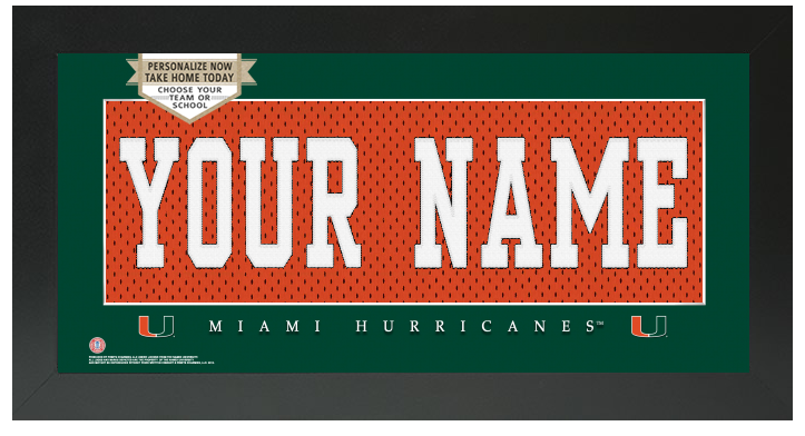 Miami Hurricanes NCAA Jersey Nameplate Custom Framed Sign
