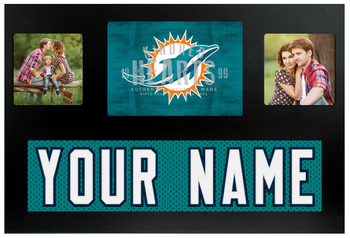 Miami Dolphins NFL Jersey Nameplate Custom Picture Frame