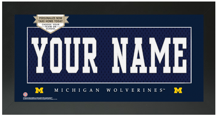 Michigan Wolverines NCAA Jersey Nameplate Custom Framed Sign