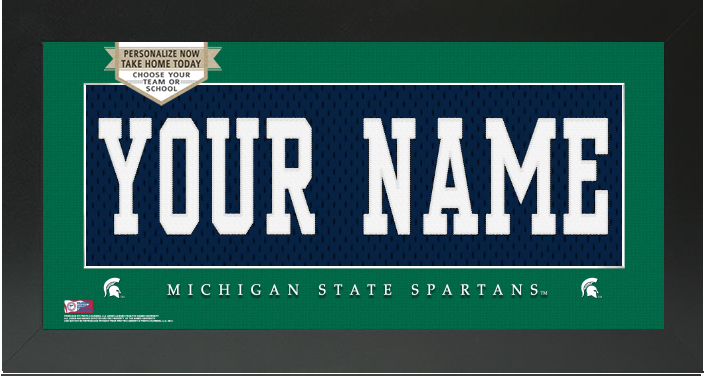 Michigan State Spartans NCAA Jersey Nameplate Custom Framed Sign