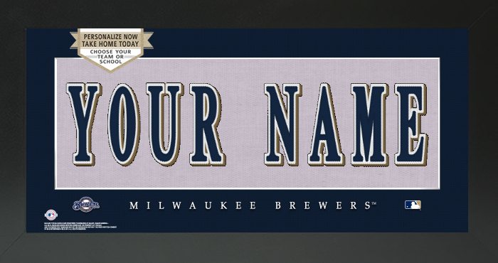 Milwaukee Brewers MLB Jersey Nameplate Custom Framed Sign