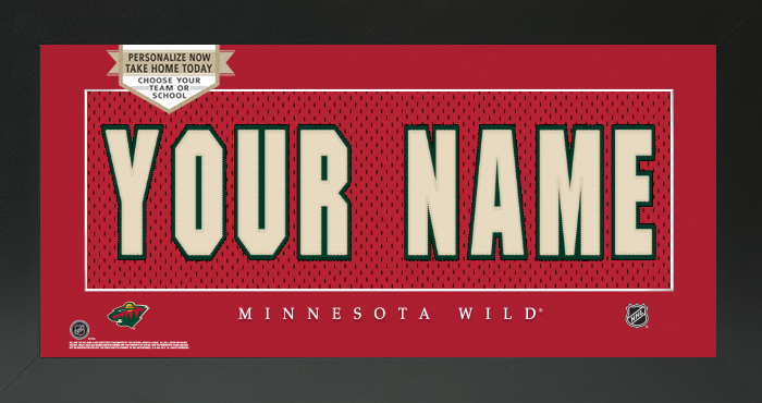 Minnesota Wild Jersey NHL Nameplate Custom Framed Sign