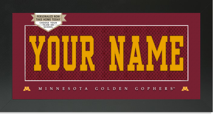 Minnesota Golden Gophers NCAA Jersey Nameplate Custom Framed Sign