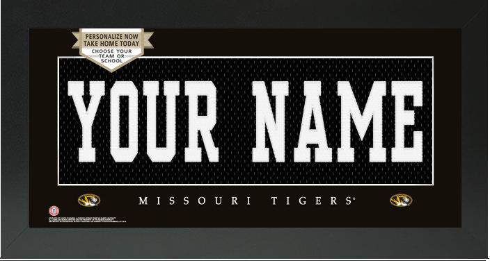 Missouri Tigers NCAA Jersey Nameplate Custom Framed Sign