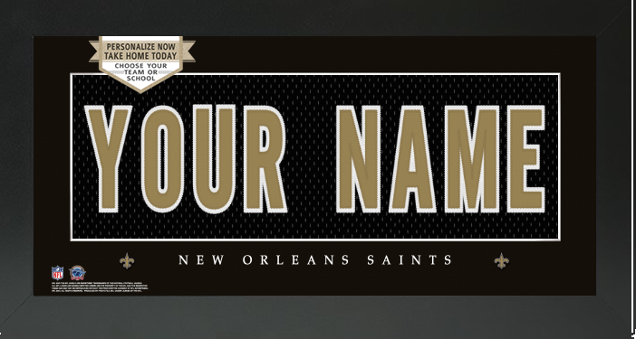 New Orleans Saints NFL Jersey Nameplate Custom Framed Sign