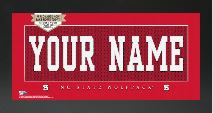 North Carolina State Wolfpack NCAA Jersey Nameplate Custom Framed Sign
