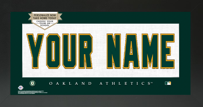 Oakland Athletics MLB Jersey Nameplate Custom Framed Sign
