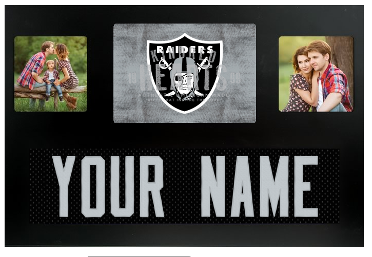 Oakland Raiders NFL Jersey Nameplate Custom Picture Frame – Campus ...