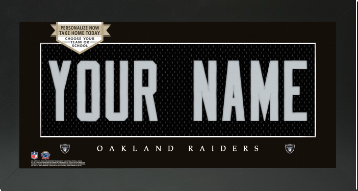 ... Oakland Raiders NFL Jersey Nameplate Custom Framed Sign – Campus  Connection ... 3869efb52