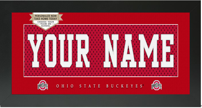 Ohio State Buckeyes NCAA Jersey Nameplate Custom Framed Sign