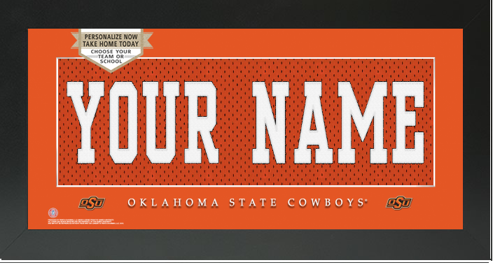 941227632 ... orange printing player portrait ncaa football premier jersey  oklahoma  state cowboys ncaa jersey nameplate custom framed sign campus connection