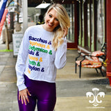 Mardi Gras Parade Comfort Colors Long Sleeve - White